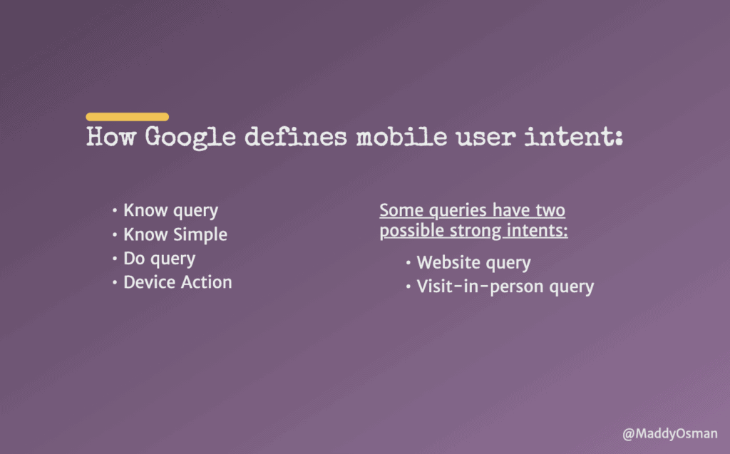 How Google defines mobile user intent