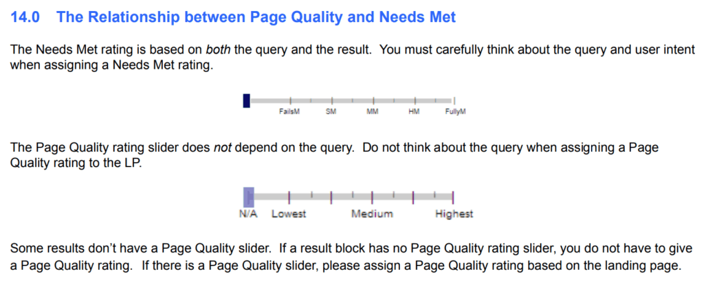 Page Quality rating to the landing page