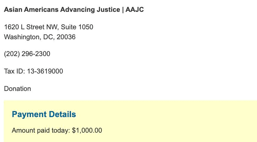 Asian Americans Advancing Justice donation