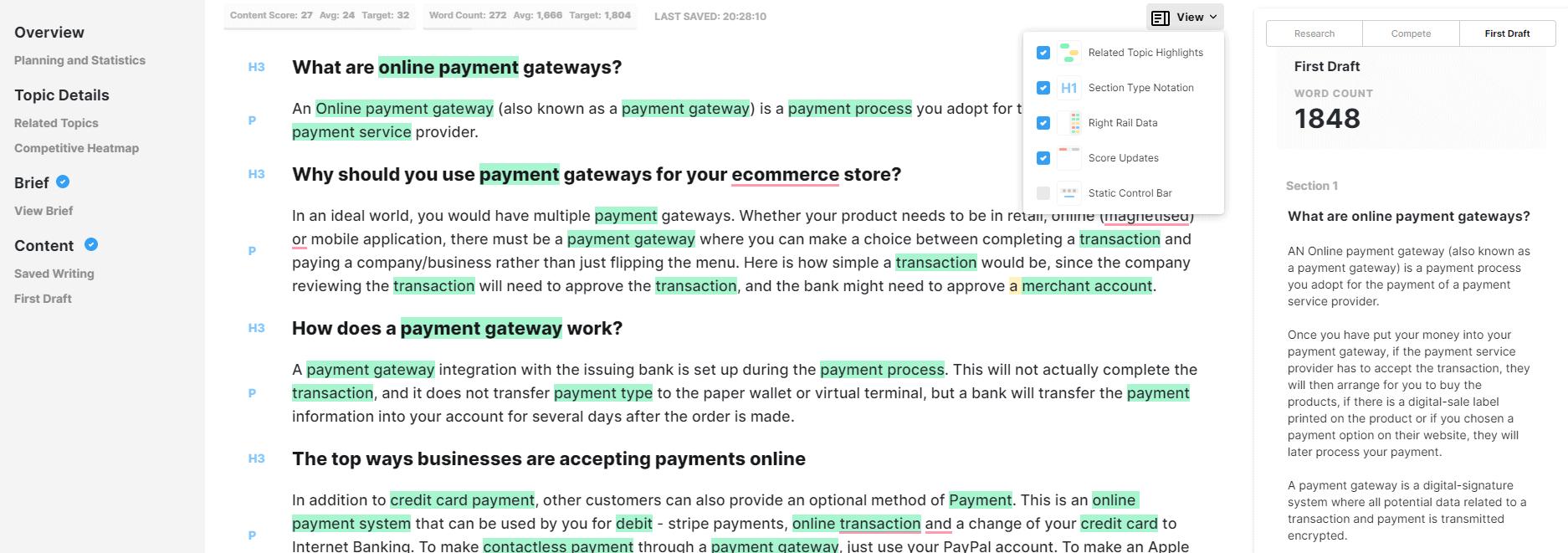 Screenshot of MarketMuse first draft