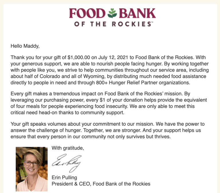 Food Bank of the Rockies July 2021 Donation