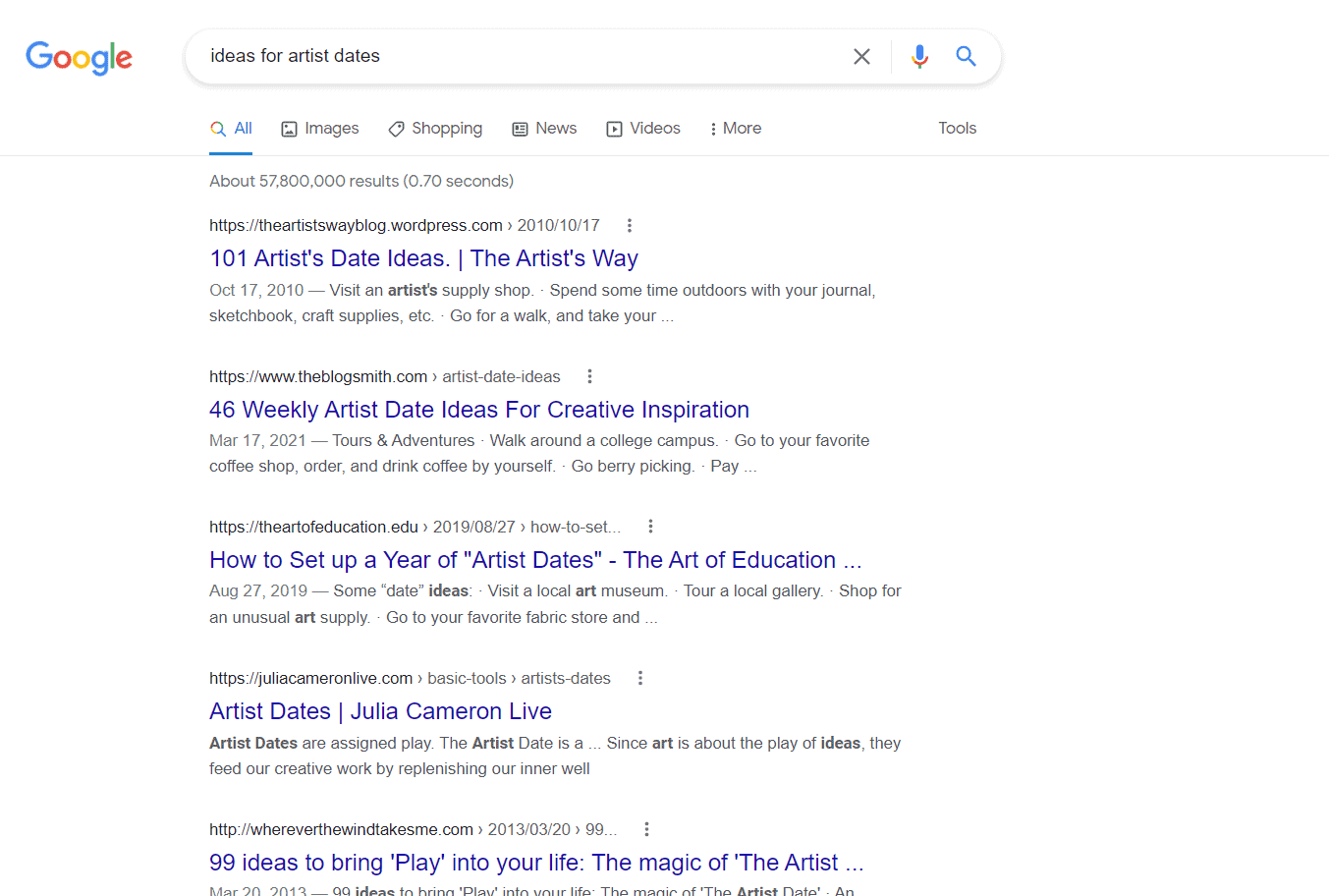Best listicle results for the google search ideas for artist dates