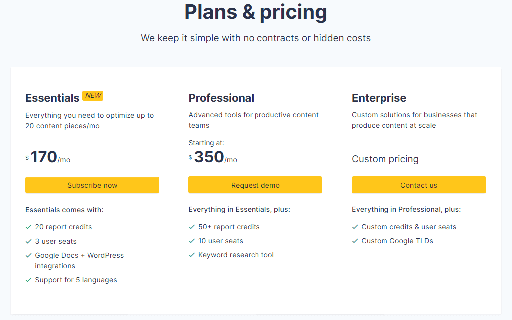 Clearscope plans and pricing