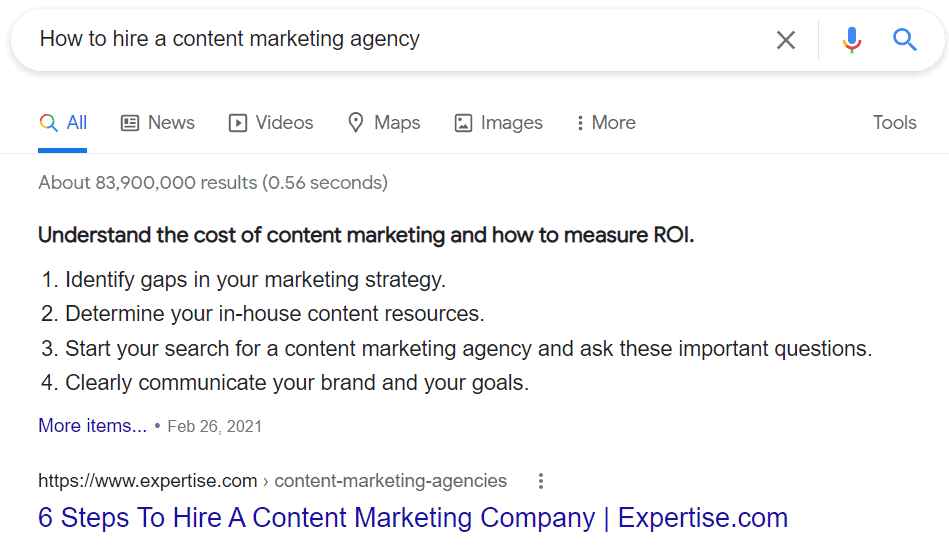 Google displaying best listicle snippet for how to hire a content marketing agency