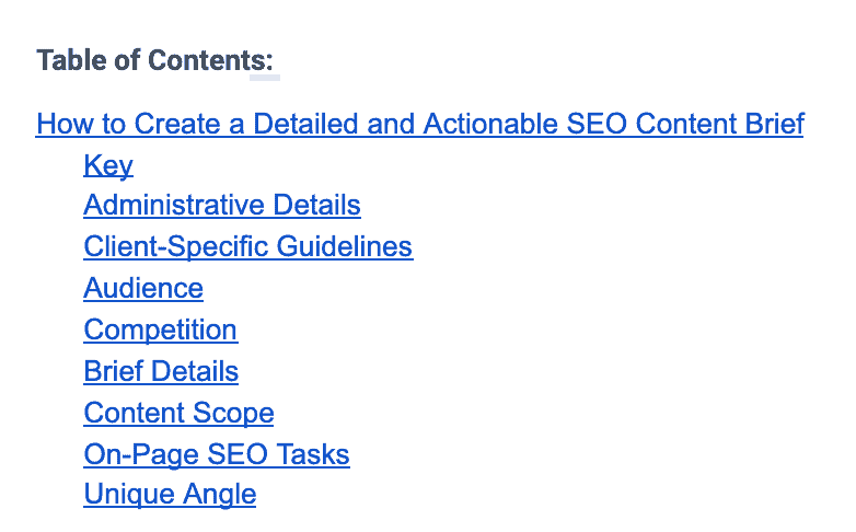 The Blogsmith Content Brief Table of Contents