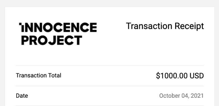 Innocence Project The Blogsmith Donation Oct 2021